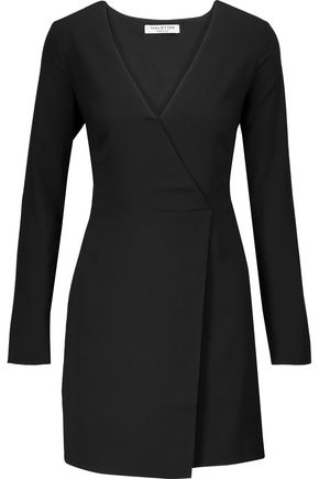 HALSTON HERITAGE Wrap-effect crepe mini dress