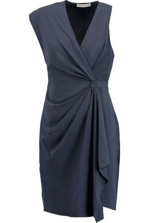HALSTON HERITAGE Draped asymmetric crepe dress