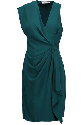 HALSTON HERITAGE Gathered crepe mini dress