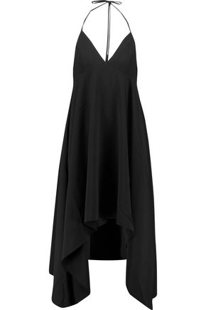 HALSTON HERITAGE Draped crepe halterneck dress