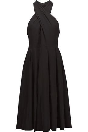 HALSTON HERITAGE Cutout pleated crepe dress