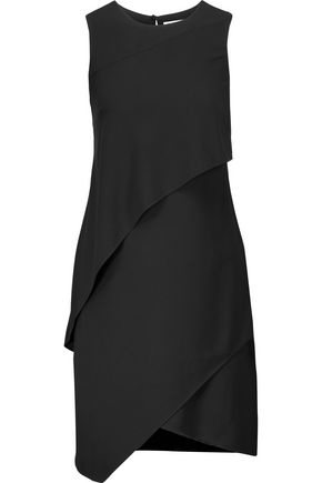HALSTON HERITAGE Layered crepe mini dress