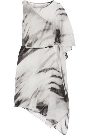 HALSTON HERITAGE Draped printed georgette mini dress