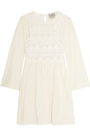 Tasseled Embroidered Cotton Broadcloth Mini Dress by Sea