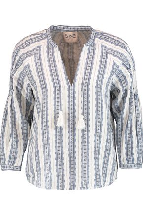 SEA Tassel-trimmed printed linen blouse