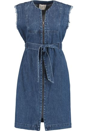 SEA Belted frayed denim dress
