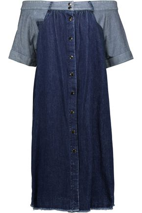 SEA Off-the-shoulder two-tone denim dress