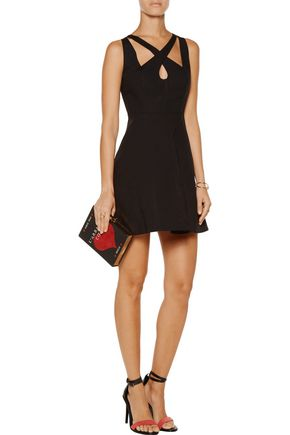 HALSTON HERITAGE Cutout stretch-cotton mini dress