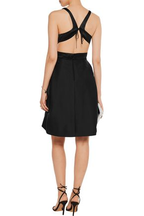 HALSTON HERITAGE Cutout paneled satin and pleated cotton and silk-blend dress