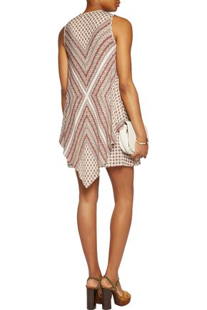 10 CROSBY DEREK LAM Lace-up printed silk mini dress