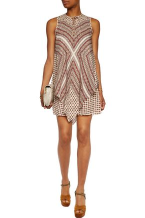 DEREK LAM 10 CROSBY Lace-up printed silk mini dress