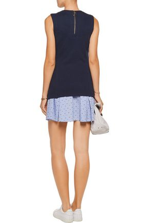 10 CROSBY DEREK LAM Layered cotton-jersey and embroidered gingham cotton mini dress