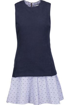 DEREK LAM 10 CROSBY Layered cotton-jersey and embroidered gingham cotton mini dress