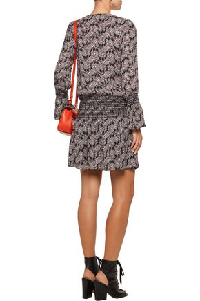 10 CROSBY DEREK LAM Smocked printed silk crepe de chine mini dress