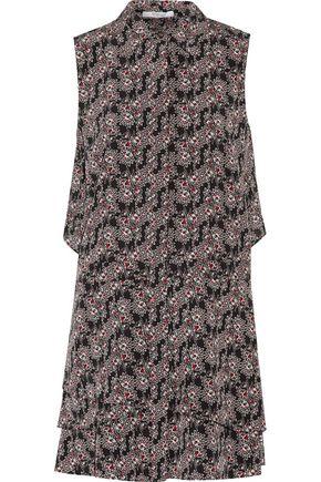 DEREK LAM 10 CROSBY Ruffled printed silk crepe de chine mini dress