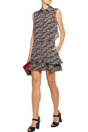 10 CROSBY DEREK LAM Ruffled printed silk crepe de chine mini dress