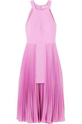 HALSTON HERITAGE Pleated crepe midi dress