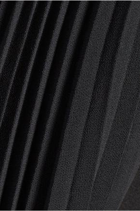 HALSTON HERITAGE Pleated crepe de chine-paneled crepe dress