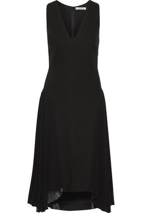 HALSTON HERITAGE Pleated crepe de chine-paneled crepe dress