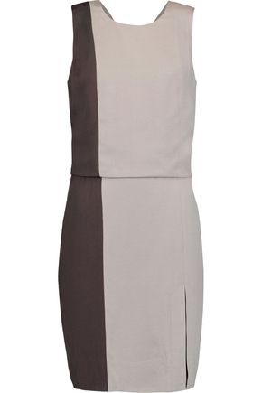 HALSTON HERITAGE Two-tone crepe dress