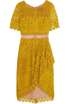 MARCHESA NOTTE Draped asymmetric lace dress
