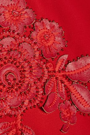 MARCHESA NOTTE Bead-embellished faux leather-appliquéd crepe dress