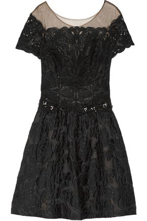 MARCHESA NOTTE Embellished tulle and cloqué mini dress