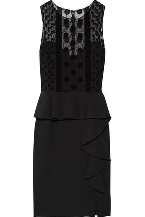 MARCHESA NOTTE Polka-dot tulle-paneled stretch-crepe dress