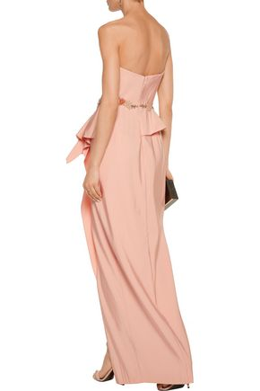 MARCHESA NOTTE Ruffled embellished crepe gown