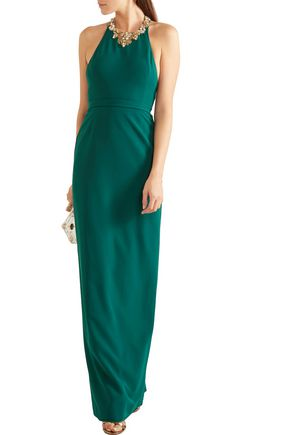 MARCHESA NOTTE Embellished crepe gown