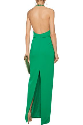 MARCHESA NOTTE Open-back embellished crepe gown