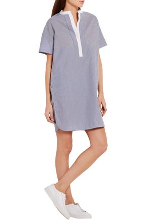VINCE. Striped cotton-poplin dress