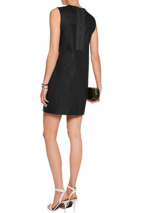 RAG & BONE Decoy leather-trimmed matelassé mini dress