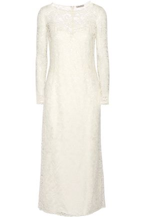 NINA RICCI Cotton-blend lace midi dress