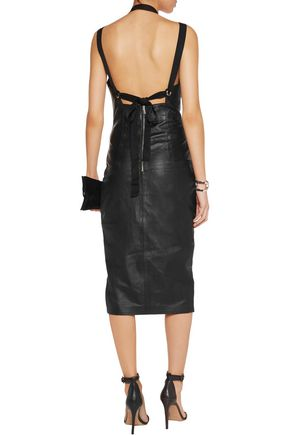 REBECCA VALLANCE Leather midi dress