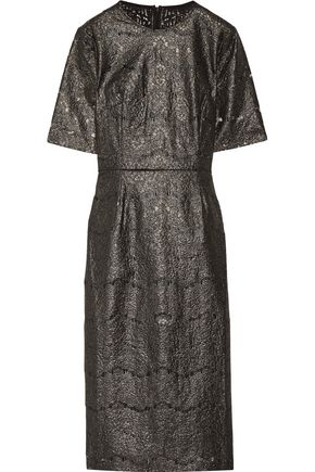 REBECCA VALLANCE Metallic coated cotton-blend lace midi dress