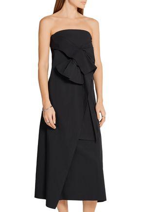 JOSEPH Strapless stretch-cotton poplin midi dress