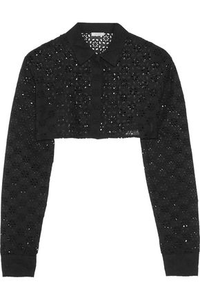 NINA RICCI Cropped broderie anglaise cotton  jacket