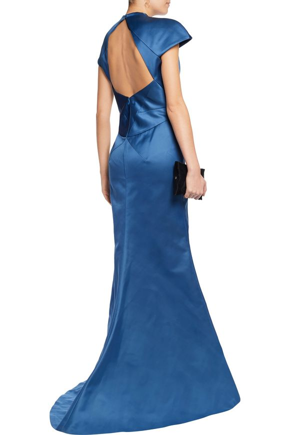 Cutout double-faced duchesse-satin gown | ZAC POSEN | Sale up to 70% off |  THE OUTNET