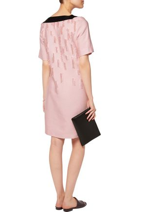 AMANDA WAKELEY Satin-trimmed distressed crepe dress