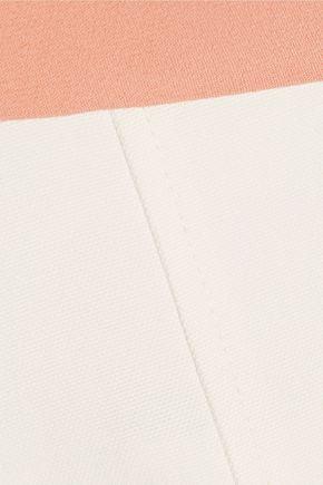 ROLAND MOURET Two-tone pleated cotton-blend crepe and canvas mini dress