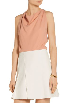ROLAND MOURET Two-tone pleated cotton-blend crepe and canvas mini dress