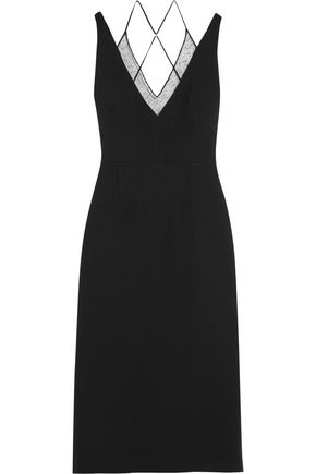 ROLAND MOURET Shannon embroidered tulle-paneled stretch-crepe dress