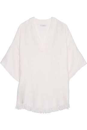 IRO Emerald fringed linen top
