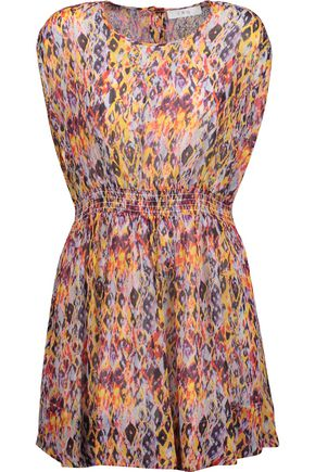 IRO Ohno pleated printed crepe de chine mini dress