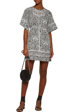 IRO Tawney crochet-trimmed printed georgette mini dress