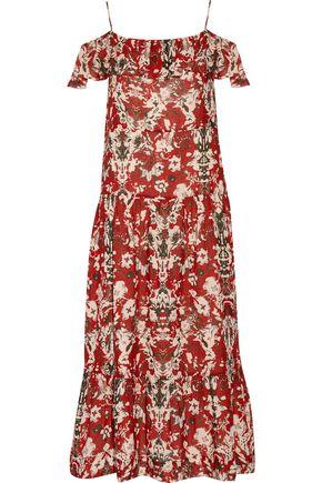 IRO Yonelia cold-shoulder printed gauze midi dress