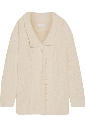 IRO Ombel frayed cotton-blend bouclé jacket