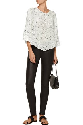 IRO Gwen open knit-trimmed printed silk blouse
