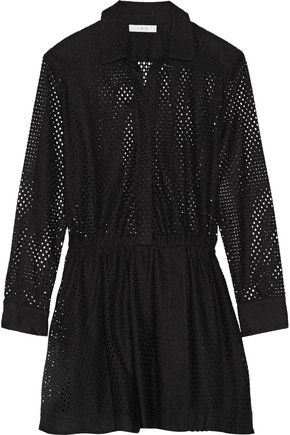 IRO Gail pleated broderie anglaise mini dress